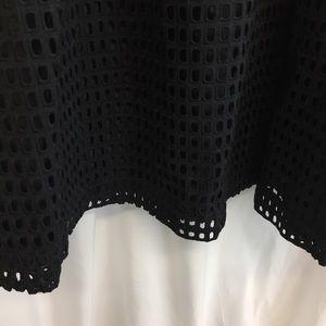 NWT H&M Black Eyelet Midi Skirt Size 8